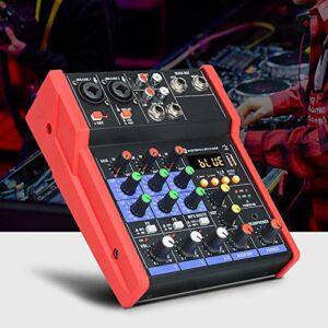 Table de mixage, mixeur audio 4 canaux, table de mixage audio professionnelle, USB, Bluetooth, stéréo, pour karaoké à domicile (rouge)