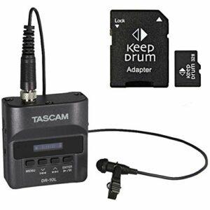 Tascam DR-10L Enregistreur audio avec micro cravate + carte mémoire micro SDHC Keepdrum 32 Go