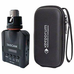 Tascam DR-10X Enregistreur numérique compact à clipser avec microphone XLR + étui de protection Keepdrum