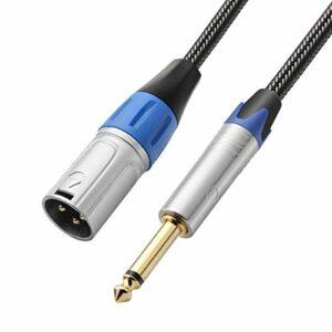 TISINO 1/4 TS vers XLR mâle, câble d'interconnexion Mono vers XLR Non équilibré 6 Feet