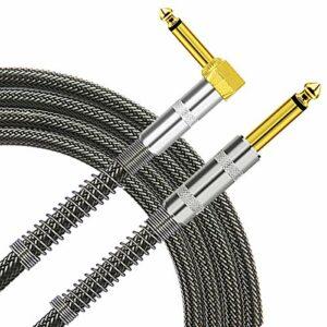 TISINO Câble de Guitare Droit à Angle Droit pour Guitare – Noir 3m