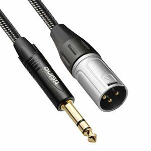 TISINO Câble de raccordement TRS vers XLR mâle 6,35 mm en Nylon tressé équilibré Quart de Pouce stéréo vers XLR 3 Feet