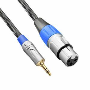 TISINO Câble micro XLR vers 3,5 mm, tressé en nylon XLR femelle vers micro 1/8 pouces pour caméscopes, appareils photo reflex numériques, appareil d'enregistrement d'ordinateur et plus encore 10 feet