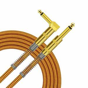 TISINO Câble pour Instrument de Guitare Droit à Angle Droit 1/4″ 6.6 Feet Jaune