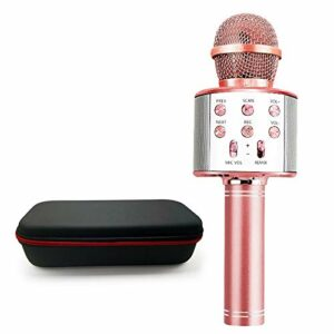 TIUENHAVU Microphone Bluetooth Wireless Handheld Karaoke Mic USB Mini Home KTV pour Music Professiona Speaker Player Singing Recorder Mic rosegoldBox