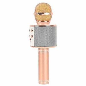 TIUENHAVU Microphone sans Fil Microphone USB Professionnel condensateur karaoké Micro Bluetooth Stand Studio Radio Studio 1800mahRoseGold