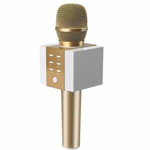 TOSING 008 microphone sans fil Bluetooth karaoké, plus fort volume 10W puissance, plus de basse, 3-en-1 portable poche double haut-parleur micro machine pour iPhone/Android/iPad/PC (or)