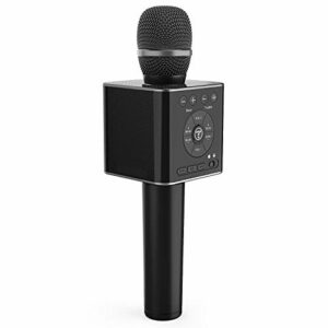 TOSING 04 Micro Karaoké Bluetooth,10W Microphone Karaoke Sans Fil,portable 3 en 1 Mic Nouvel An cadeau Home Party haut-parleur pour iPhone/Android/iPad/Sony,PC et tous les smartphone (Noir)