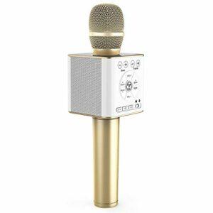 TOSING 04 Micro Karaoké Bluetooth,10W Microphone Karaoke Sans Fil,portable 3 en 1 Mic Nouvel An cadeau Home Party haut-parleur pour iPhone/Android/iPad/Sony,PC et tous les smartphone (Or)