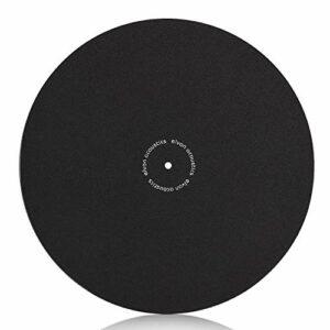 Turntable slipmat antistatique Tapis de laine–1/20,3cm épais Phonographe LP Vinyl Record Player Noir mat–Améliore la qualité sonore et réduit le bruit