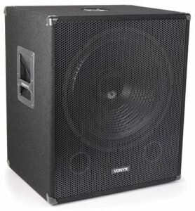 Vonyx SWA18 Caisson de Basse Amplifié 1000 W – Subwoofer pour DJ 18″, Insert pour pied d'enceinte, Réglages pour le son, la fréquence et la phase, Solide et facile à transporter