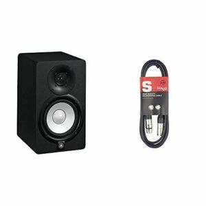 Yamaha HS5 – Enceinte de Monitoring Studio amplifiée – Enceinte de mixage pour DJ, Musiciens et producteurs – Noire & Stagg 3 m Câble Microphone XLR – XLR de Haute Qualité – Noir