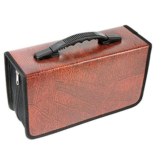 Yaunli Boîte de rangement portable pour CD Capacité 128 CD Organiseur CD CD Porte-CD Boîte de rangement Étui de rangement (couleur : marron, taille : 29 x 17 x 10 cm)