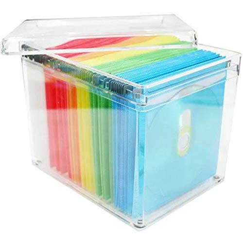 Yaunli Boîte de rangement pour CD Capacité 120 CD DVD Boîte de rangement pour DVD Boîte de rangement pour enregistrement domestique Boîte de transport (couleur : blanc, taille : 20 x 16 x 15 cm)