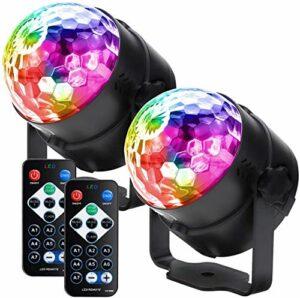 YXB Lumières de fête – Boule disco LED – Flash sonore activé – RBG – Éclairage de scène – Portable – 7 modes – Pour la maison, la danse, les fêtes d'anniversaire – Kara