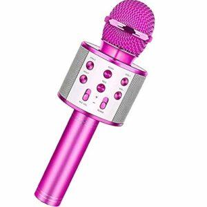 Zengqhui Microphone Microoke de karaoké sans Fil Portable for Le karaoké de Chat Vocal de réunion Applicable à Plusieurs Scénarios (Couleur : Pink, Size : One Size)