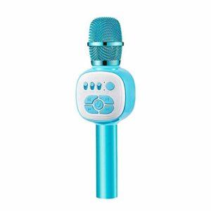 Zengqhui Microphone Microphone de karaoké sans Fil condenseur Portable Micro avec lumière LED Applicable à Plusieurs Scénarios (Couleur : Bleu, Size : One Size)