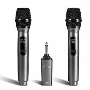 Zengqhui Microphone Microphones sans Fil Portables Microphones avec récepteur Distance de 50 Pieds Applicable à Plusieurs Scénarios (Couleur : Gris, Size : One Size)