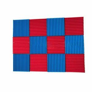 ZX Isolation en Mousse Acoustic Foam Acoustique Wedge 30x30x2.5cm 12 Rouges + 12 Bleus Panneaux Acoustiques pour KTV Studio