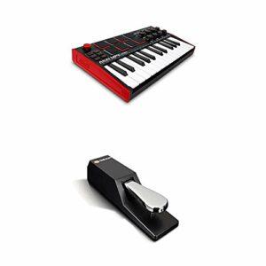 AKAI Professional MPK Mini MK3 + M-Audio SP-2 – Clavier Maître MIDI USB 25 Touches Sensibles, Pads et Joystick + Pédale de Sustain de Type Piano