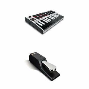 AKAI Professional MPK Mini MK3 White + M-Audio SP-2 – Clavier Maître MIDI USB 25 Touches Sensibles, Pads et Joystick + Pédale de Sustain de Type Piano