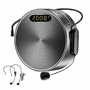 Amplificateur Voix Portable Bluetooth 15W 2600 mAH, Mini Haut-parleur Amplificateur Voix avec Microphone sans fil et Casque, Prise en Charge Musique TF Record Horloge pour Enseignants Guides