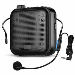 APROTII Mini Amplificateur Vocal 12W Portable avec Amplification du Son Lecture de Musique Casque Micro Filaire et Ceinture pour Salle de Classe Réunion Extérieur Enseignants Guide Touristique