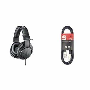 Audio-Technica ATH-M20X Casque Audio Professionnel Noir & Stagg 3 m Câble Microphone XLR – XLR de Haute Qualité – Noir