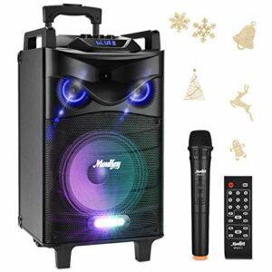 Bluetooth Sonorisation Portable Moukey Karaoké Speaker Audio Haut-parleurs 520W Enceinte Sono PA système avec lumières DJ VHF Micros Radio MP3/USB/SD/FM pour la fête de Noël 10″