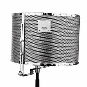 Bouclier Microphone Isolation Studio Mic insonorisant Mousse réflecteur Panneau d'enregistrement for podcasts de radiodiffusion (Couleur : Argent, Taille : 50x26x35cm)
