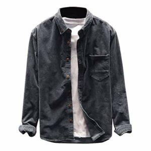 Briskorry Chemise à manches longues pour homme – Coupe ajustée – Manches longues – Solide – Col fin – Bouton en bas – Rétro – Faconnable – Vintage XXXL gris