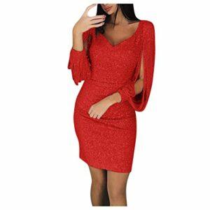 Briskorry Robe de soirée élégante et sexy à paillettes avec décolleté en V et manches longues XXL rouge