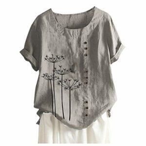 Briskorry T-shirt en lin pour femme Été Automne Grande Taille Impression Tshirt à manches courtes Col rond Tunique Tops Blouse XXL gris