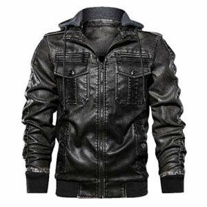 Briskorry Veste de motard pour homme automne hiver vintage à fermeture éclair à capuche manches longues Pure Color Chaud en cuir synthétique Manteau à capuche pour homme L Noir