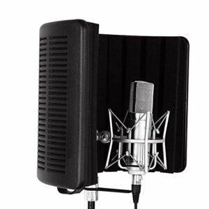 Canness-Accessories Mic Isolation Shield Premium, Microphone insonorisant Studio réflecteur for Studio d'enregistrement Équipement (Couleur : Noir, Taille : 42×18.5x30cm)