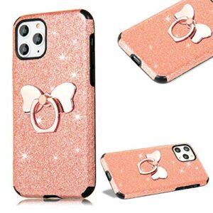 Cestor Strass Coque pour iPhone 12 Mini 5.4″,Ultra Mince Glitter Sparkle Brillant Souple TPU Silicone Gel Cristal Housse Étui avec Bowknot porte-bague,Or Rose