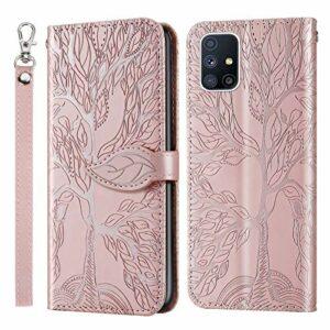 Coque pour Galaxy A51 Antichoc étui Rabat Cuir Case Portefeuille FineTPU Gel Bumper Slim Silicone Wallet Cover Aimant Housse pour Samsung Galaxy A51 – ZIRX010128 Or Rose