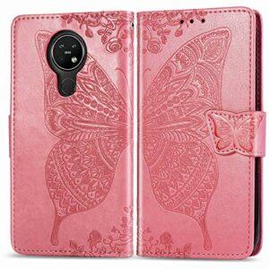Coque pour Nokia 3.4 Antichoc étui Rabat Cuir Case Portefeuille FineTPU Gel Bumper Slim Silicone Wallet Cover Aimant Housse pour Nokia 3.4 – ZISD021936 Rose
