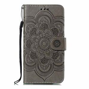 Coque pour [Nokia 6.1 Plus] Prime PU Cuir Flip Folio Housse Étui Cover Case Wallet Portefeuille Support Dragonne Fermeture Magnétique pour Nokia 6.1 Plus – JEEB011447 Gris