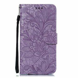 Coque pour Nokia 7.1 2018 Protection Housse en Cuir PU Pochette,[Emplacements Cartes],[Fonction Support],[Languette Magnétique] pour Nokia7.1 – DEEB021286 Violet