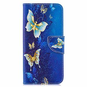 Coque pour Samsung Galaxy S30 Plus en cuir PU résistant aux chocs avec fermeture magnétique et emplacements pour cartes Motif papillon Bleu