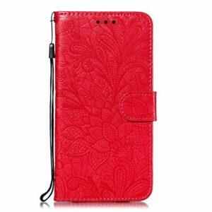 Coque pour Xiaomi Redmi Note 6 Pro/Note 6 Protection Housse en Cuir PU Pochette,[Emplacements Cartes],[Fonction Support],[Languette Magnétique] pour Xiaomi Redmi Note 6 Pro – DEEB021619 Rouge