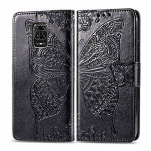 Coque pour Xiaomi Redmi Note 9 Pro Antichoc étui Rabat Cuir Case Portefeuille FineTPU Gel Bumper Slim Silicone Wallet Cover Aimant Housse pour Xiaomi Redmi Note9 Pro Max – ZISD022234 Noir