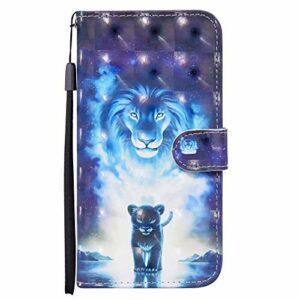 Coque Remplacement pour CRABOT Samsung Galaxy A10S 3D Visual de Livre Flip Housse en Cuir Protection en Stand Support Emplacements pour Cartes Cas+1*Protecteur D'écran(Lion Bleu)