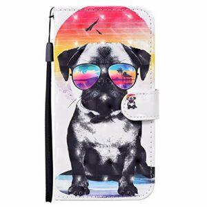 CRABOT Étui de rechange pour Samsung Galaxy A10/M10 en cuir avec fermeture magnétique et emplacements pour cartes + 1 film protecteur d'écran (chien à lunettes)
