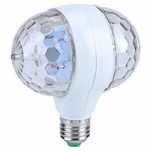 Delaman Mini boule à facettes multicolore E27 LED RVB avec effet de lumière rotatif pour discothèque, fête, stage, lumière blanche et transparente avec prise de courant