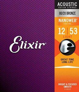 Elixir 11052 Light Acoustic 80/20 Bronze avec revêtement Nanoweb (.012 – .053)