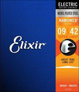 Elixir – Acier plaqué nickel super léger avec revêtement Nanoweb (.009 – .042)