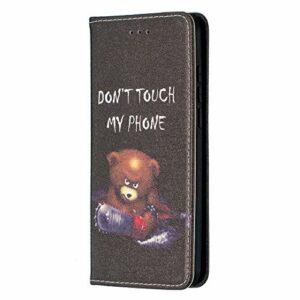 Étui portefeuille à rabat en cuir PU résistant aux chocs avec fermeture magnétique et emplacements pour cartes et béquille pour Samsung Galaxy S30 Ultra Don't Touch My Phone