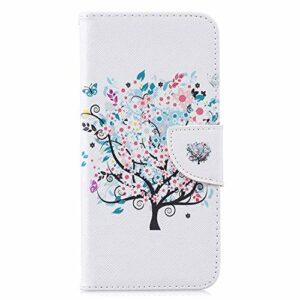Étui pour Samsung Galaxy S30 Plus – En cuir synthétique – Résistant aux chocs – Fermeture magnétique – Dos souple – Avec porte-cartes – Motif arbre coloré